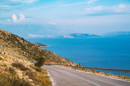 Mountain road near Stara Baska , Krk Island , Croatia Stock Photo