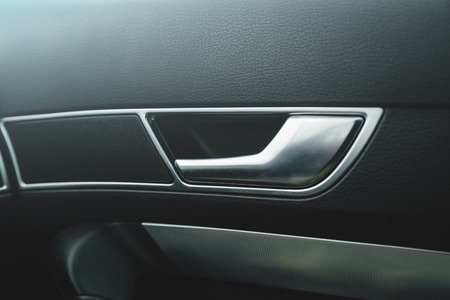 Car door handle closeup view