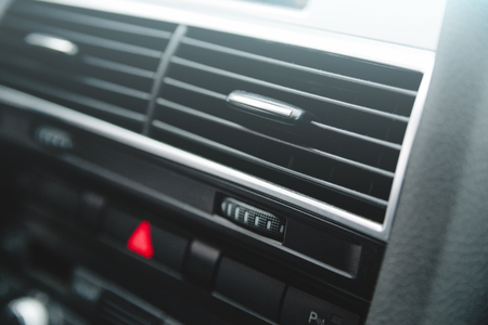 Car air conditioning system and the air flow inside the car. Detail interior of car
