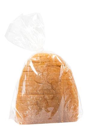 bolsa de pan: Pan en una bolsa de pl�stico aislado en blanco