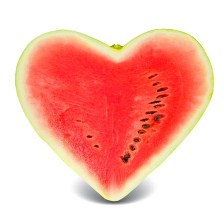 watermelon slice in a heart shape isolated on white