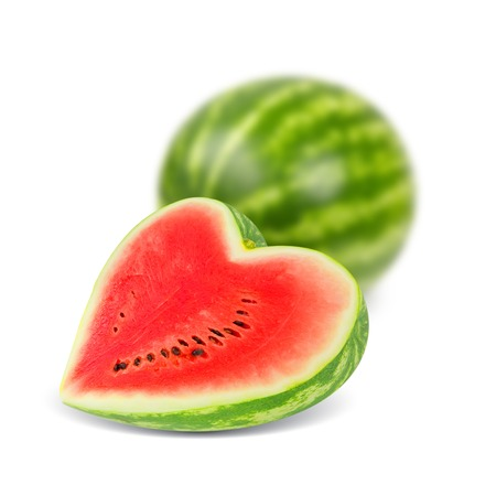 Photo of watermelon with slice in a heart shape isolated on white photo