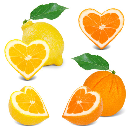 Photo of citrus with slices in a heart shape collection photo