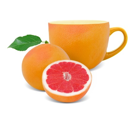 Photo of cup with grapefruit slice - tea concept photo