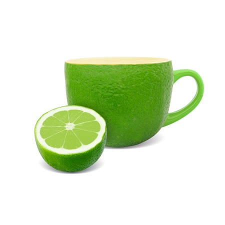 Photo of cup with lime - tea concept photo