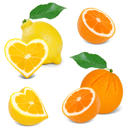 citrus with slices in a heart shape collection photo