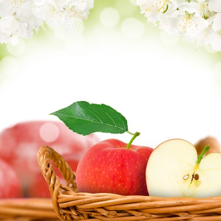 Photo of red apples in basket with apple blossom  photo