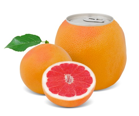 Photo of can with fruit - grapefruit juice concept photo