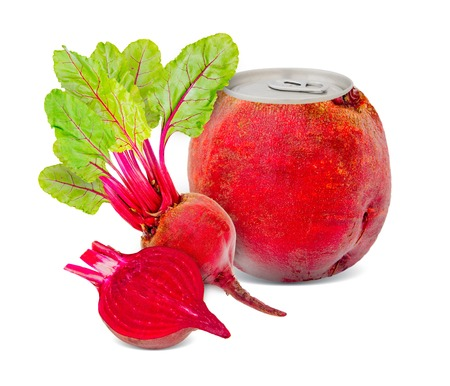 Photo of can with fruit - red beet juice concept photo