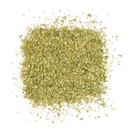 Abstracte achtergrond gemaakt van gemalen marjolein bladeren geïsoleerd op wit Stockfoto - 29781270