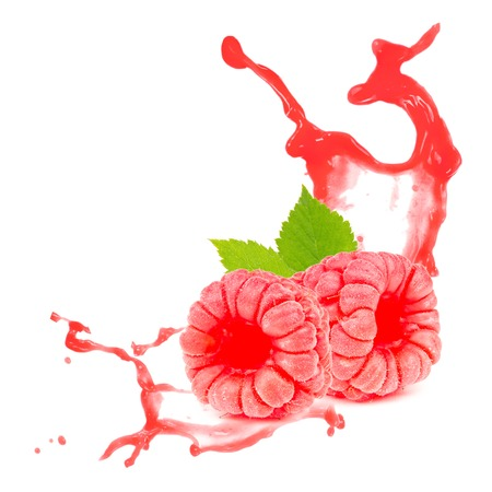 Photo of raspberry with leaf and splash isolated on white