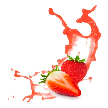 Photo of strawberry with slice and splash isolated on white