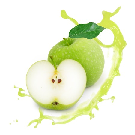 Photo of green apple with leaf, slice and splash isolated on white