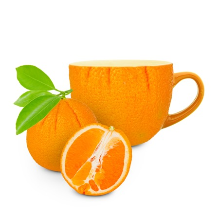 Photo of cup with orange - tea concept photo