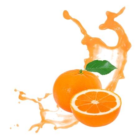 Photo of tangerine with slice and splash isolated on white Standard-Bild