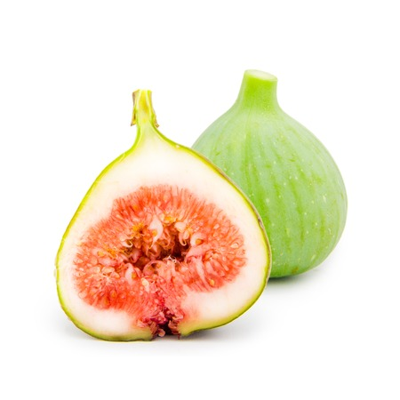 Photo of fig with slice isolated on white photo