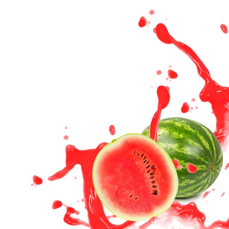Photo of melon with slice and splash isolated on white