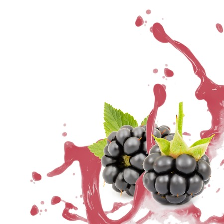 Photo of blackberries with leaf and splash isolated on white photo