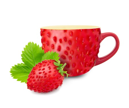 Photo of cup made of fruit skin with forest strawberry photo