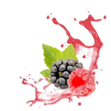 Photo of blackberry and raspberry with leaf and splash isolated on white photo