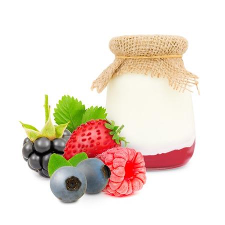 skim: Photo of glass with forest fruit yogurt isolated on white