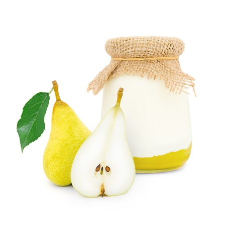 conserved: Photo of glass with pear yogurt isolated on white Stock Photo