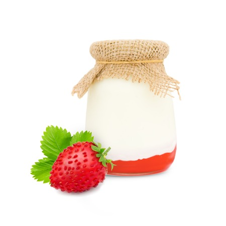 skim: Photo of glass with forest strawberry yogurt isolated on white Stock Photo