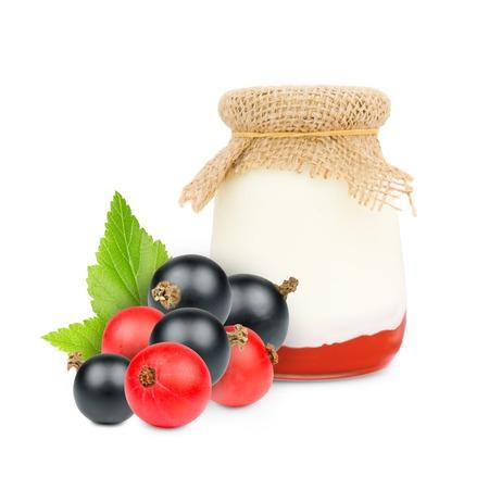 skim: Photo of glass with currant yogurt isolated on white Stock Photo