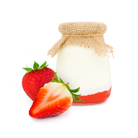 conserved: Photo of glass with strawberry yogurt isolated on white
