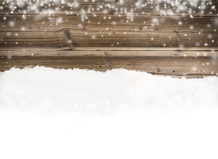 Wooden texture with snow flakes Stock Photo