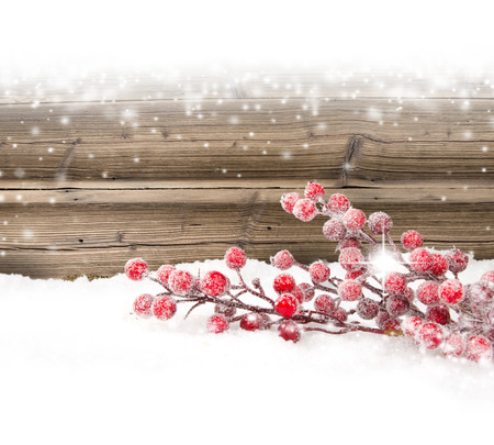 Still life with branch full of red baubles covered with snow Stock Photo