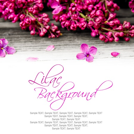 Lilac blooms on on wooden surface with space for the text photo