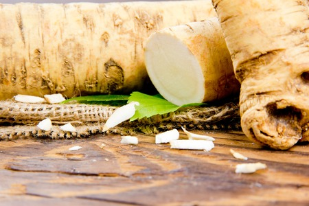horseradish: Photo of horseradish root with slice on burlap and wooden board