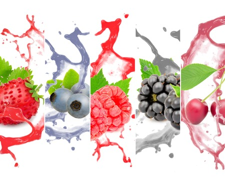 Collection of berry fruit with leaves and splash isolated on white