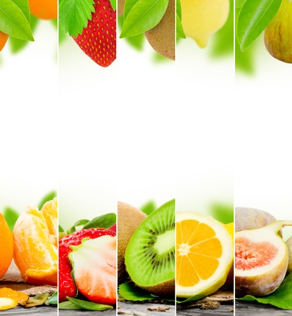 raum weiss: Foto von abstrakten Frucht-Mix mit wei�en Raum f�r Text