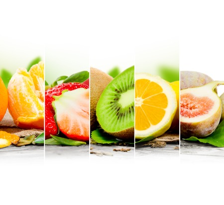 abstract fruit: Photo of abstract fruit mix with white space for text