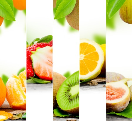 Photo of abstract fruit mix with white space for text