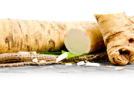 Photo of horseradish root with slice on burlap with white space