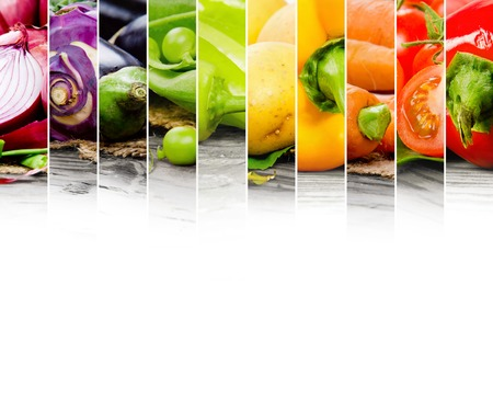 rainbow colors: Photo of colorful vegetable mix with white space for text