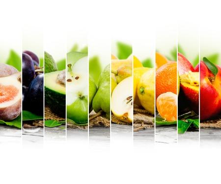 dieta sana: Foto de la mezcla de frutas de colores con espacio en blanco para el texto