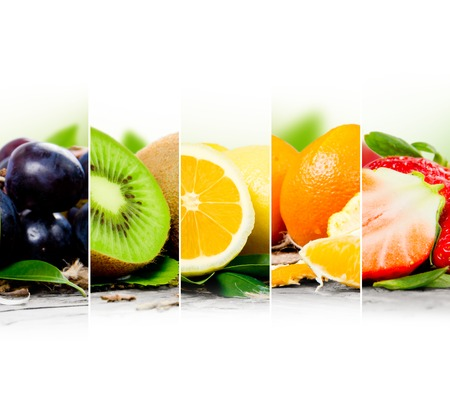colorful fruit mix with white space for text
