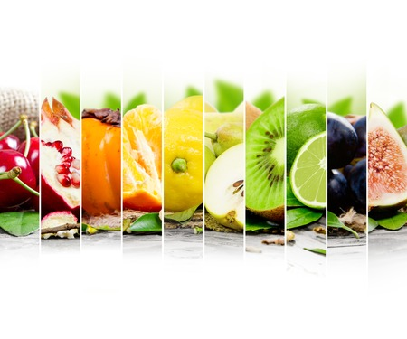 Photo of colorful fruit mix with white space for text