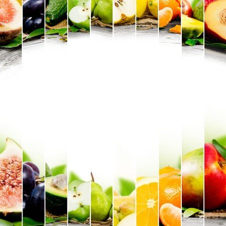 Photo of colorful fruit mix with white space for text Stock Photo - 42123540
