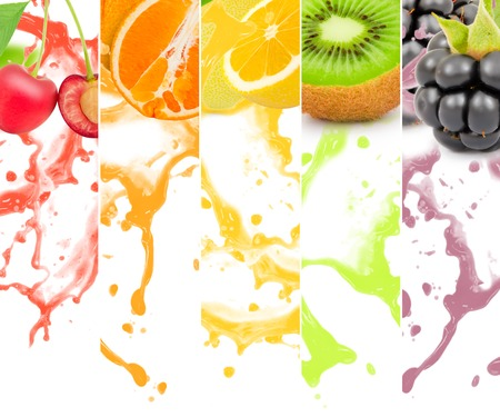 Rainbow colorful fruit stripe collection with splash on white background Stock Photo - 44254857
