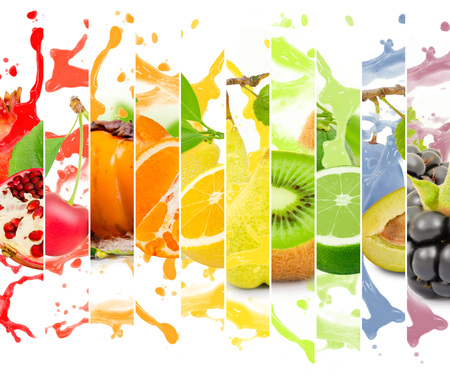 fruit juices: Rainbow colorful fruit stripe collection with splash on white background