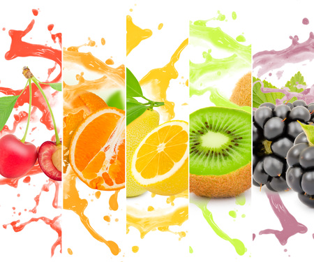 blackberry fruit: Rainbow colorful fruit stripe collection with splash on white background