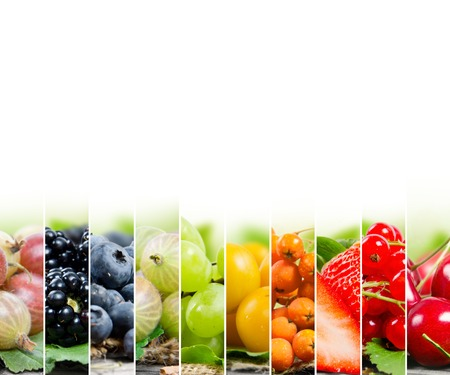 Photo of colorful berry mix with white space for text Stock Photo