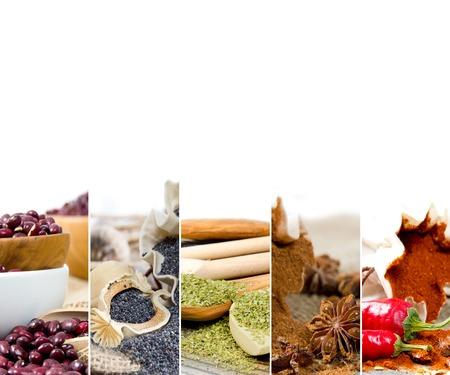especias: Foto de la mezcla de especias de colores con espacio en blanco para el texto