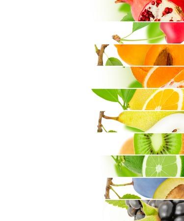 fruta tropical: Foto de la mezcla de la fruta con el espacio blanco
