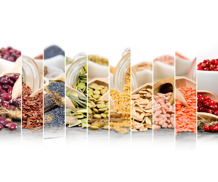 Photo of colorful seed mix with white space for text